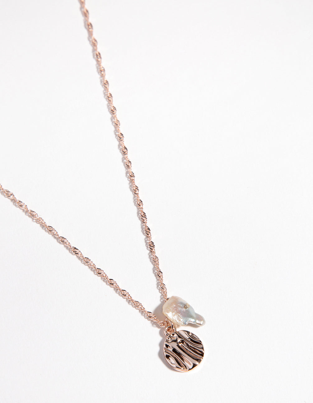 Rose Gold Molten Disc and Pearl Necklace