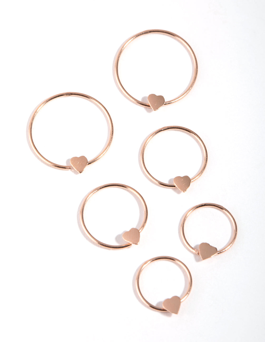 Rose Gold Plated Heart Graduated Hoop 3-Pack Earring