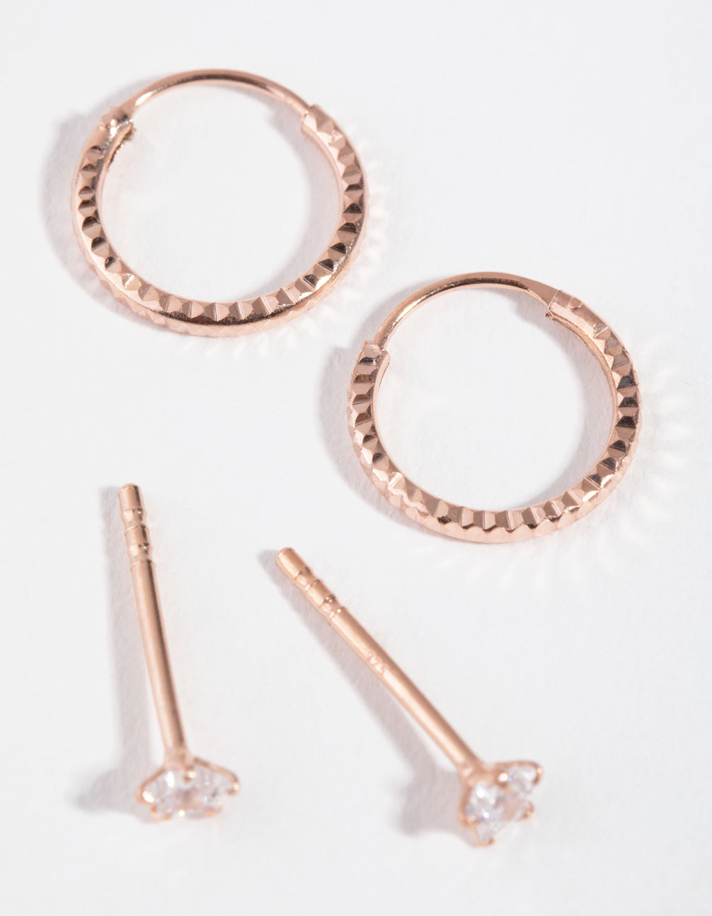 Rose Gold Plated Star and Hoop 2-Pack Earring