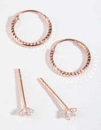 Rose Gold Plated Star and Hoop 2-Pack Earring - link has visual effect only