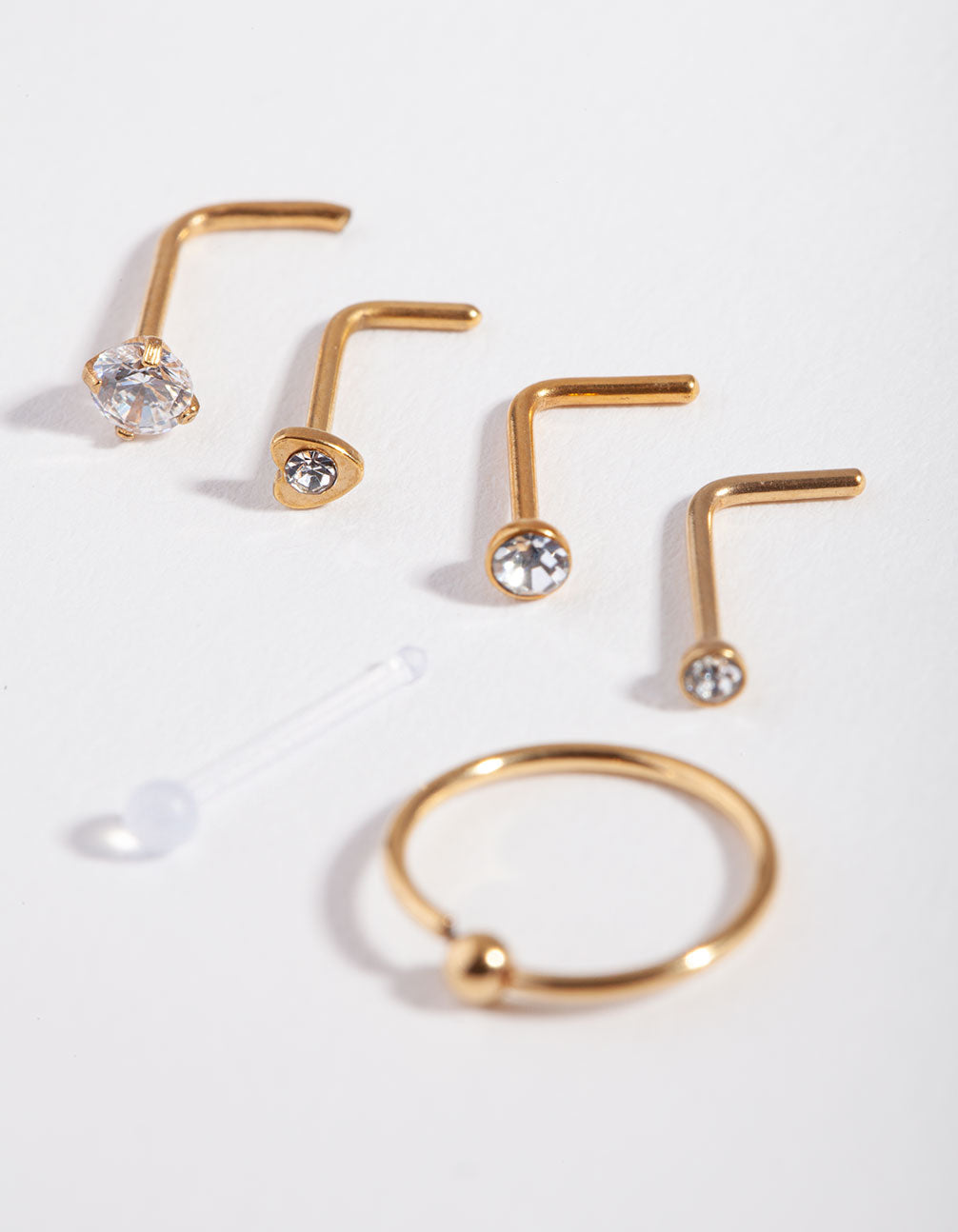 Gold Surgical Steel Mixed Diamante 6-Pack Nose Studs