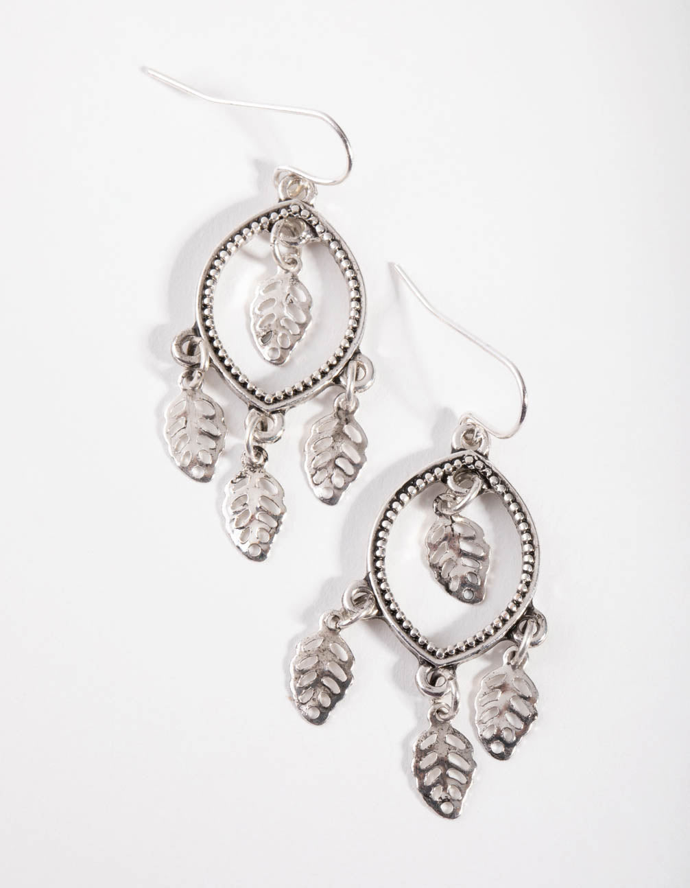 Antique Silver Open Round Drop Earrings