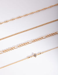 Gold Diamante Bracelet & Anklet 4 Pack