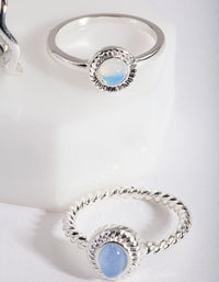 Silver Blue Stone Ring Stack - link has visual effect only