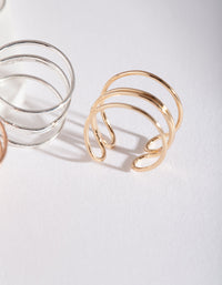 Fine Modern Cuff Toe Ring 3 Pack - link has visual effect only