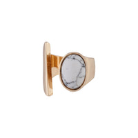Gold Open Band Howlite Stone Ring - link has visual effect only
