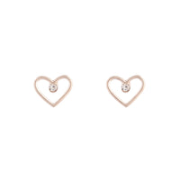 Rose Gold Diamante Cut-out Heart Earring - link has visual effect only