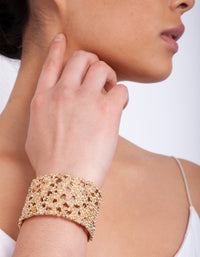 Gold Textured Wide Arm Cuff - link has visual effect only