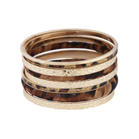 Gold Textured Leopard Fabric Bangle - link has visual effect only