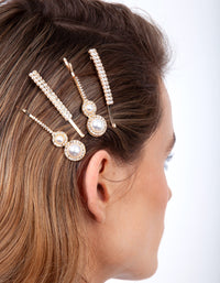 Gold Diamante Pearl Hair Clip 4 Pack - link has visual effect only