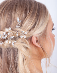 Silver Faceted Pearl Leaf Hair Vine - link has visual effect only
