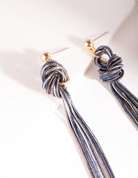 Gold and Dark Blue Metal Tassel Earrings - link has visual effect only