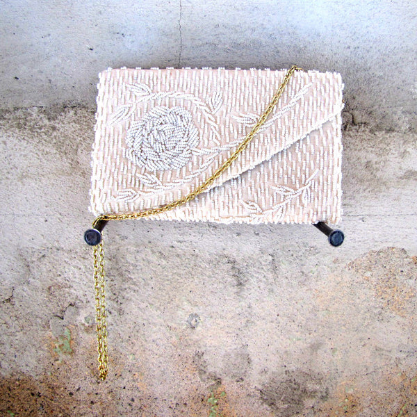 White Beaded Rose Clutch