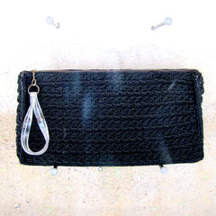 Purse - Clutch w/ Lucite Handle - BLACK