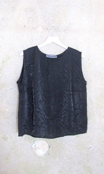 Black Shiny Crinkle Tank w Open Side Seams - M/L