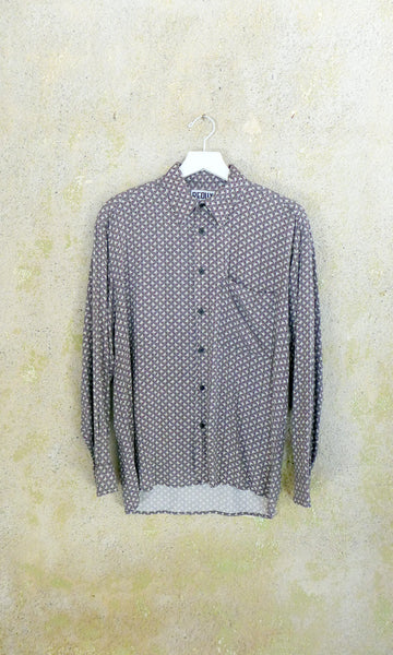 Grey Rectangle Printed Collared Button Up- MENS