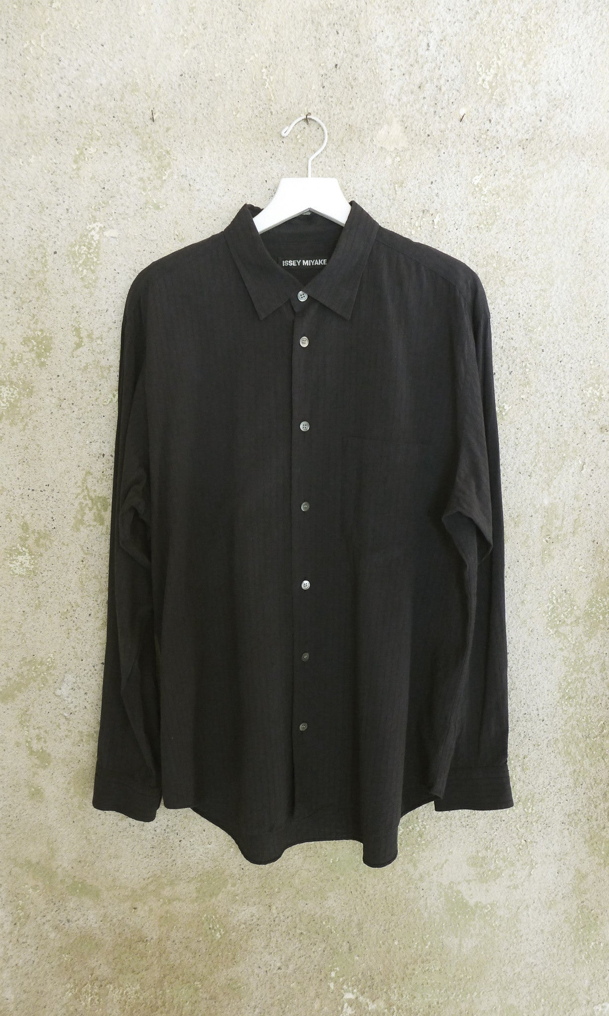 L/S Black Issey Miyake Collared Button Up - MENS