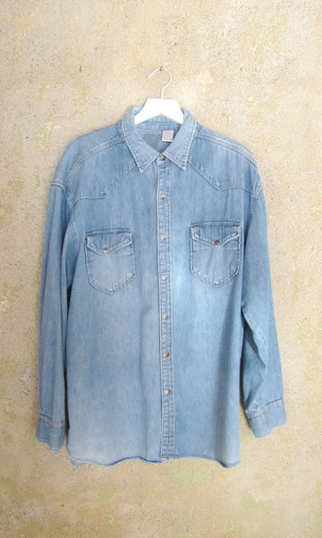 L/S Collared Denim Button Up- MENS