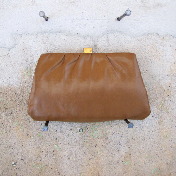 Purse - Leather Clutch - CAMEL