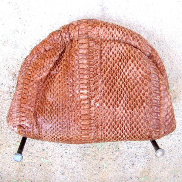 Purse - Snake Skin Clutch -CAMEL