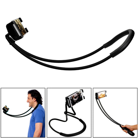 Image of 360 Degree Rotation Lazy Bendable Flexible Hang Neck Phone Holder