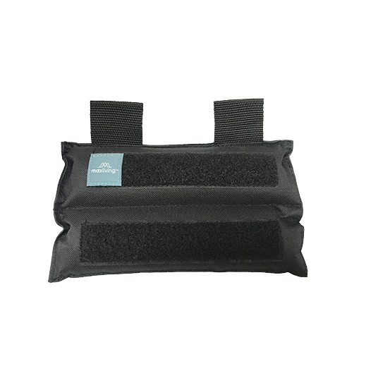 The 3lb Weight is padded and can be used as a shoulder, chest, or hip weight. It can be combined with the Accessory/Pediatric 2lb Weight Pocket to increase the weight through the velcro.