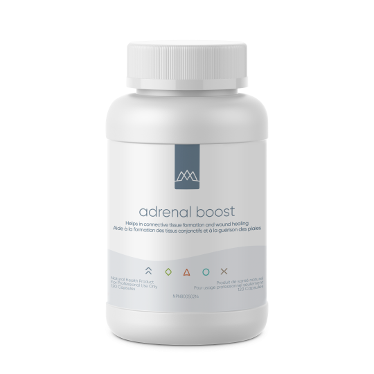 Adrenal Boost is a glandular-based adrenal product offering comprehensive support to rejuvenate and balance both adrenal and hypothalamic-pituitary-adrenal (HPA) axis function. The adrenal glands are mainly responsible for secreting cortisol and catecholamines (epinephrine and norepinephrine) to mediate stress responses. In addition to depleting a host of micronutrients, stress can alter cortisol and catecholamines in a harmful way.