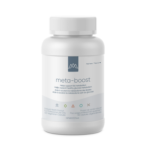 Meta-Boost is a comprehensive endocrine and metabolic balancing formula designed to promote optimal body composition. This formula favourably modulates insulin, leptin and cortisol, balances blood sugar, optimizes the lipoprotein lipase enzyme, and limits cravings.