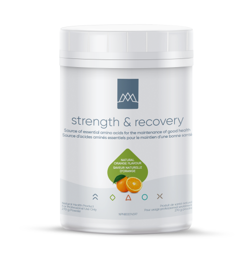 Strength & Recovery combines the branched-chain amino acids (BCAAs)—leucine, isoleucine, and valine—along with the amino acid, L-glutamine, in a great-tasting, orange flavoured powder. BCAAs make up 35% of the essential amino acids in muscle protein, and approximately 40% of the total amino acids required by mammals.