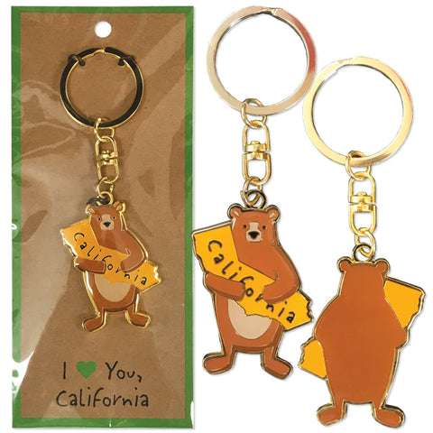 I Love CA Bear Keychain