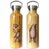 Bear Hugging, I Love You California Wood Grain Water Bottle