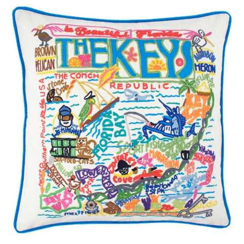Florida Keys Hand-Embroidered Pillow