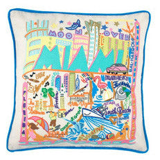 Miami Hand-Embroidered Pillow