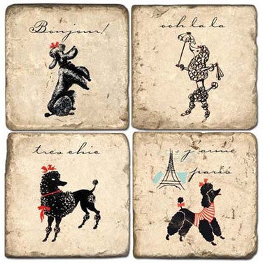 French Poodle Drink Coasters