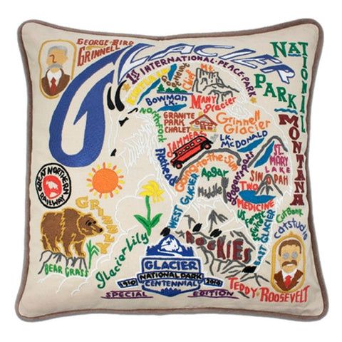 Glacier Hand-Embroidered Pillow