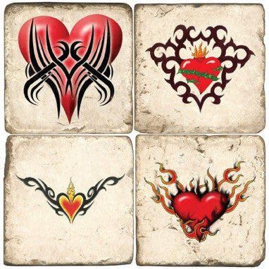 Hearts Aflame Drink Coasters