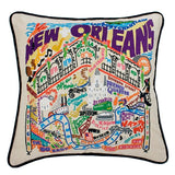 New Orleans Hand-Embroidered Pillow