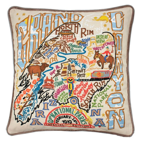 Grand Canyon Hand-Embroidered Pillow