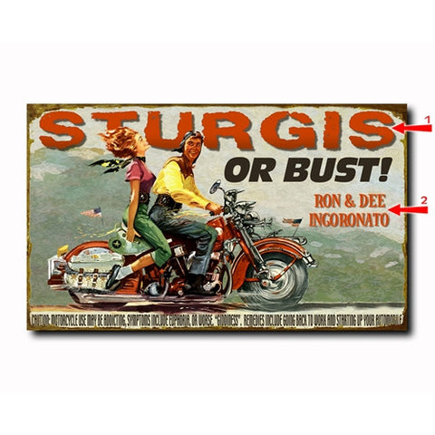 Motorcycle Couple Custom Sign