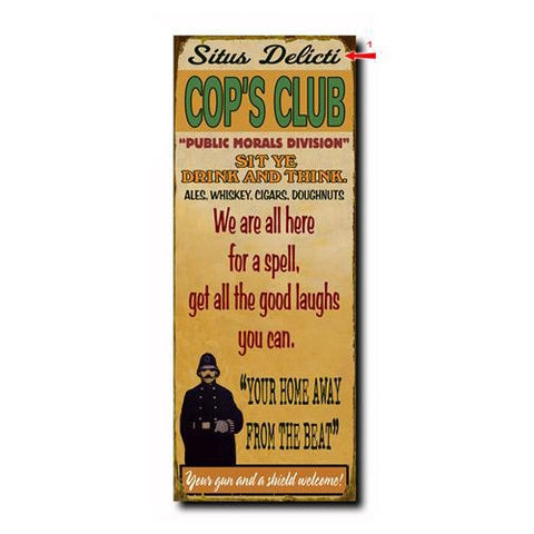 Cop's Club Custom Sign