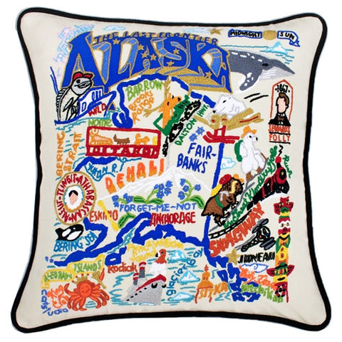 State of Alaska Hand-Embroidered Pillow