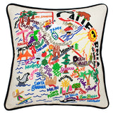 State of California Hand-Embroidered Pillow