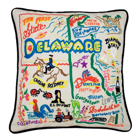 State of Delaware Hand-Embroidered Pillow