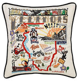 State of Illinois Hand-Embroidered Pillow
