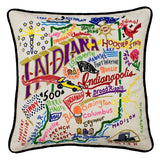 State of Indiana Hand-Embroidered Pillow