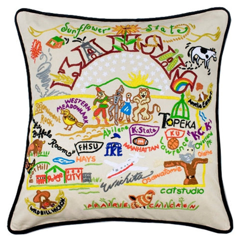 State of Kansas Hand-Embroidered Pillow