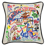 State of Maryland Hand-Embroidered Pillow