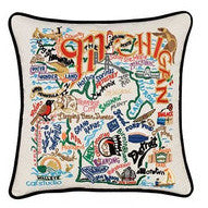 State of Michigan Hand-Embroidered Pillow
