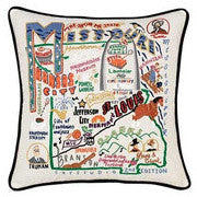State of Missouri Hand-Embroidered Pillow