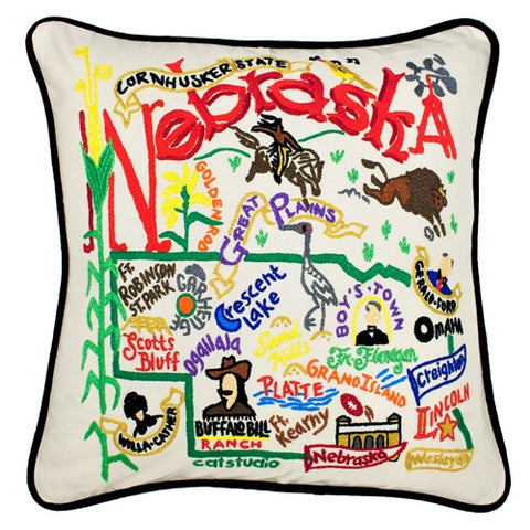 State of Nebraska Hand-Embroidered Pillow